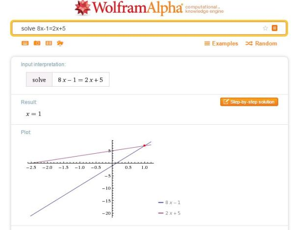 WolframAlpha solve equation