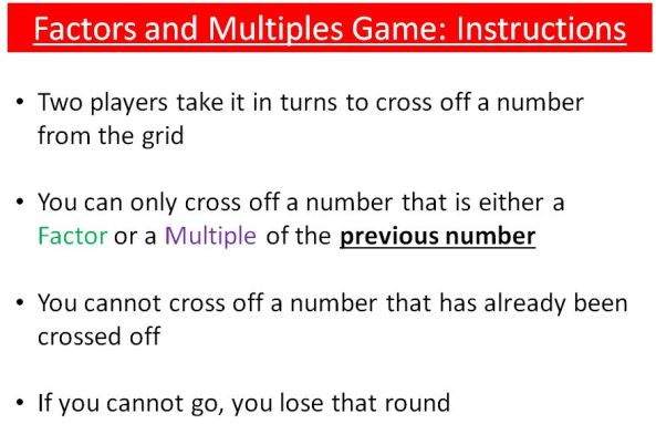 Factors & Multiples Game