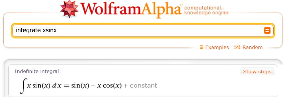 Some info regarding Wolfram Alpha Indefinite Integral Calculator