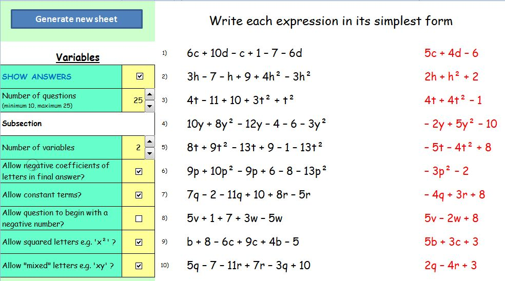Simplify Expressions Worksheet Mathematics worksheets on