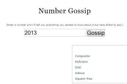 Number Gossip 2013