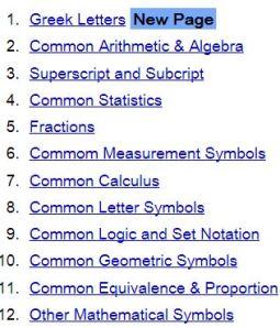 Mathematics Symbols from Penn State