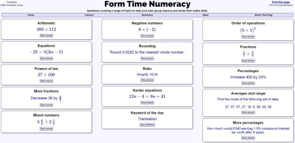 Form Time Numeracy 2