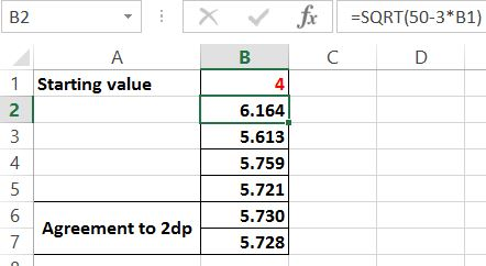 Excel - iterative solution of equations