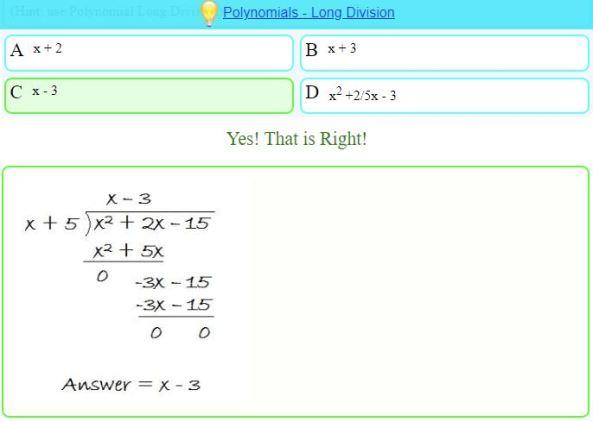 Mathisfun Algebraic Long Division