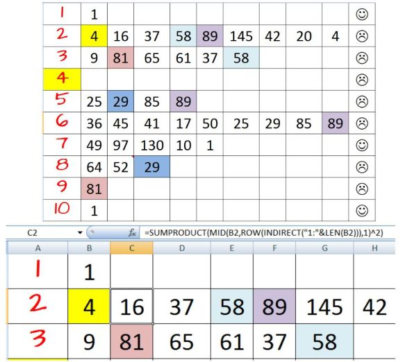 Happy Numbers Excel calculation