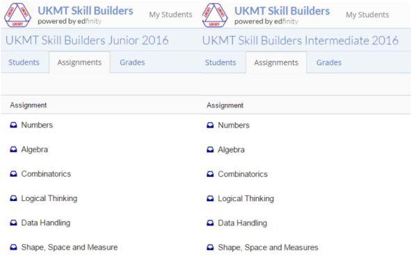 UKMT Skills Builders Topics