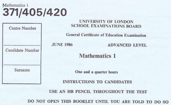 Mathematics A level 1986 | Mathematics, Learning and Technology