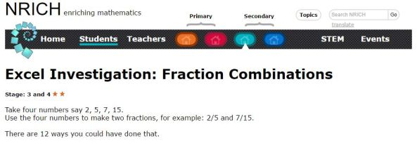 Nrich - Fraction Combinations