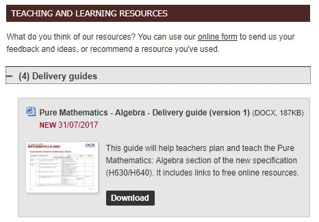 OCR Algebra Delivery Guide
