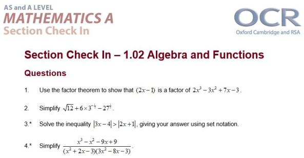 OCR Check In Algebra