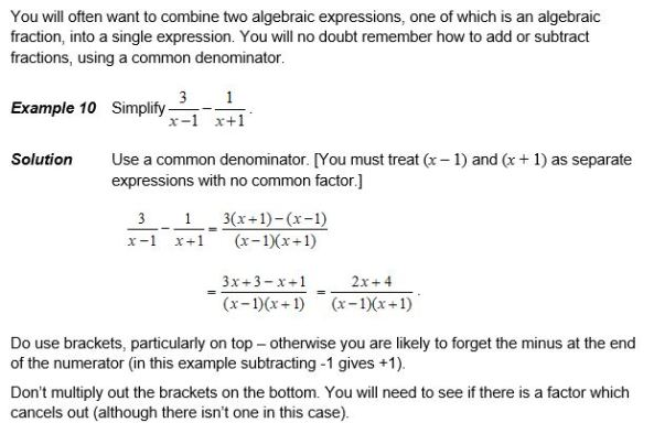 OCR Transition Algebra Fractions