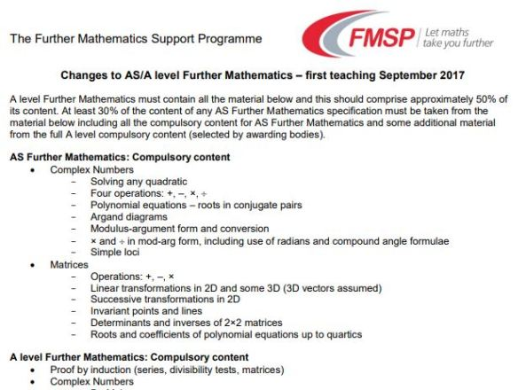 Further Maths Compulsory Content Summary