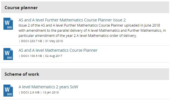 Edexcel Course Planners & Schemes of Work