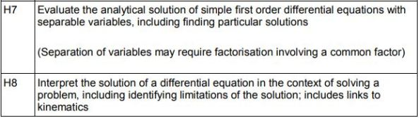 Subject Content - Differential Equations Maths