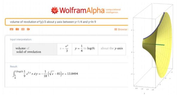 WolframAlpha volume of revolution