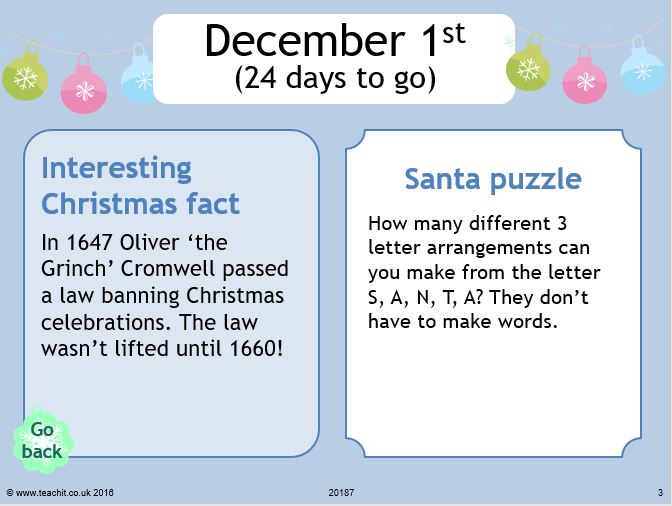 TeachIt Maths Advent Calendar Dec 1