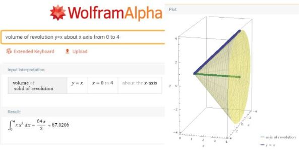 WolframAlpha Volumes of Revolution