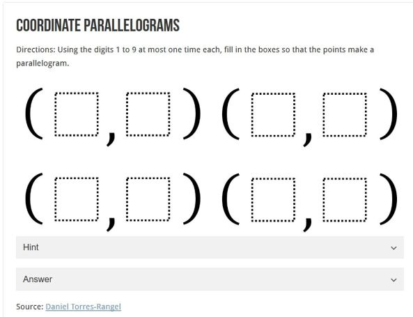Coordinate Parallelograms