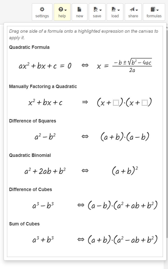 Graspable Math Formulae